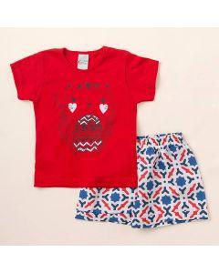 Conjunto de Verão Infantil Blusa Vermelha com Gatinho e Shorts Estampado