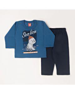 Conjunto Longo Elian Casaco Sea Lion Azul e Calça Básica Preto em Moletom