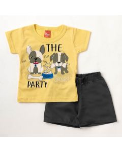Conjunto Bebê Verão Elian Camiseta Amarela Dog's e Bermuda Chumbo