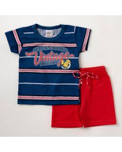 Conjunto Bebê Verão Elian Camiseta Azul Vintage e Bermuda Vermelha