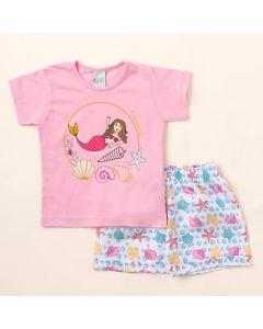 Conjunto com Short Infantil Estampado e Blusa Feminina Rosa Infantil