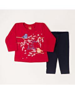 Conjunto Longo Elian Casaco Passarinho Vermelho em Moletom e Calça Legging Preto em Cotton
