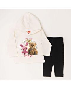 Conjunto Longo Elian Casaco Urso com Capuz Marfim em Moletom e Calça Legging Preto em Cotton