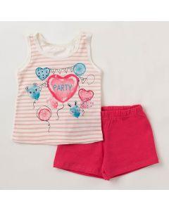 Conjunto Bebê Verão Elian Blusa Marfim Coração e Shorts Pink-P