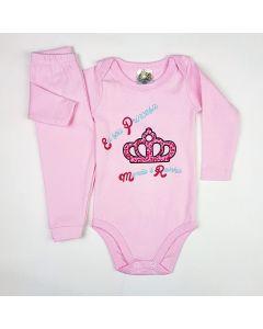 Conjunto Longo Clubinho Kids Body Princess e Calça Ribana com Lycra Rosa