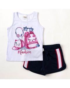 Conjunto Infantil Verão Elian Blusa Branca Fashion e Shorts Preto
