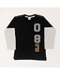 Camiseta Manga Longa Estampada Preto em Meia Malha