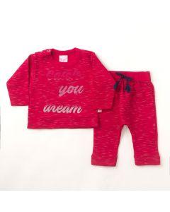 Conjunto Longo Liga Nessa Blusa Estampada Pink e Calça em Moletom Pink