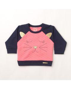 Casaco Bebê Liga Nessa Cat Matelassê em Molecotton Rosa