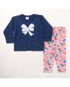Conjunto Longo Liga Nessa Blusa Laço em Moletom Marinho e Calça Legging Estampada em Suplex Rosa