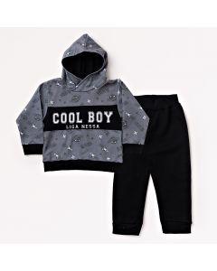 Conjunto Longo Liga Nessa Blusa Cool Boy Cinza e Calça em Moletom Preto