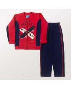 Conjunto Longo Liga Nessa Blusa Skate Vermelha e Calça em Moletom Marinho