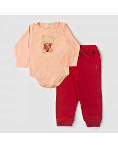 Conjunto Bebê Bodie Manga Longa em Cotton Salmão e Calça em Moletom Vermelho