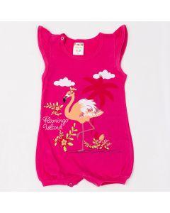 Macaquinho Fantoni Flamingo em Meia Malha Pink