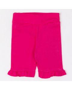 Bermuda Fantoni Capri com Babado em Cotton Pink
