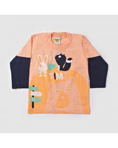 Camiseta Bebê Manga Longa Pets em Meia Malha Salmão