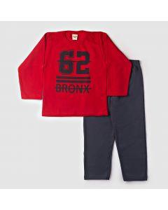Conjunto Infantil Blusa Bronx Vermelha e Calça em Moletom Chumbo
