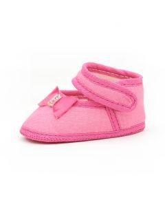 Sapatinho de Bebê Baby Gut em Tricoline Pink com Lacinho