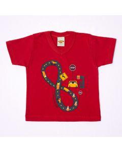 Camiseta Pimentinha Corrida em Meia Malha Vermelho