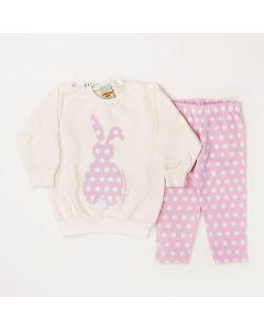 Conjunto Longo Pimentinha Blusa Coelho Marfim em Moletom e Calça Legging Poá Rosa em Cotton-P