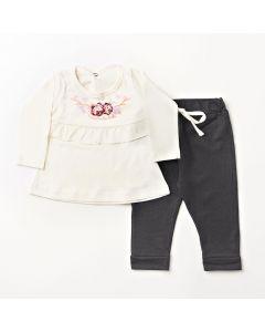 Conjunto Longo Pimentinha Blusa Flower Marfim e Calça Legging Jeans Preto em Cotton