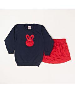 Conjunto Longo Pimentinha Blusa Rabbit Marinho em Moletom e Saia Coração Vermelho em Plush