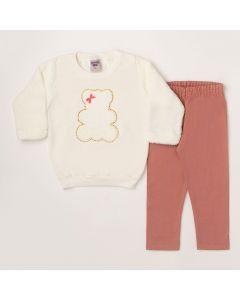 Conjunto Longo Pimentinha Blusa Urso Marfim em Moletom e Calça Legging Rosa em Cotton -1