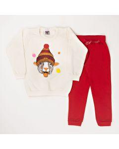 Conjunto Longo Pimentinha Blusa Estampada Marfim e Calça Básica Vermelho em Moletom