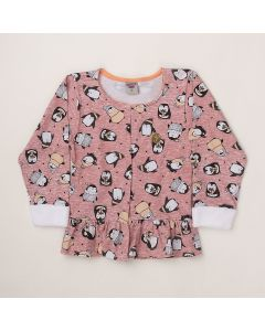 Casaco Pimentinha Pinguim Rosa em Cotton