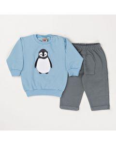Conjunto Longo Pimentinha Casaco Pinguim Azul e Calça com Bolso Chumbo em Moletom