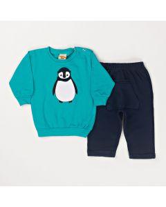 Conjunto Longo Pimentinha Casaco Pinguim Verde e Calça com Bolso Marinho em Moletom