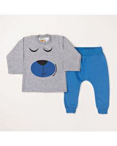 Conjunto Longo Pimentinha Blusa Urso Mescla e Calça Azul em Moletom