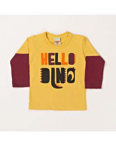 Camiseta Manga Longa Pimentinha Hello Dino Amarelo em Meia Malha