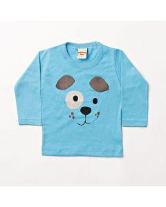 Camiseta Manga Longa Pimentinha Dog Azul em Meia Malha