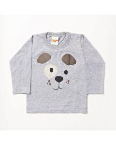 Camiseta Manga Longa Pimentinha Dog Mescla em Meia Malha