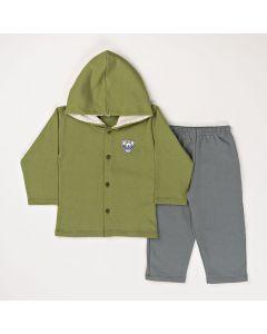Conjunto Longo Pimentinha Casaco com Capuz Forrado Verde e Calça Básica Cinza em Moletom