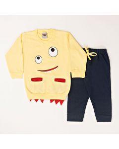 Conjunto Longo Pimentinha Blusa Monster Amarelo em Moletom e Calça Jeans Marinho em Cotton
