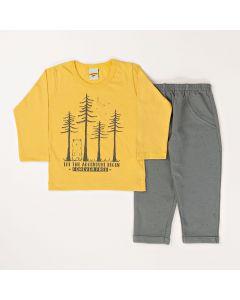 Conjunto Longo Pimentinha Camiseta Adventure Amarelo Meia Malha e Calça Básica Cinza em Moletom