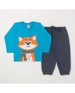 Conjunto Longo Infantil Pimentinha Blusa Fox em Meia Malha Azul e Calça em Moletom Chumbo