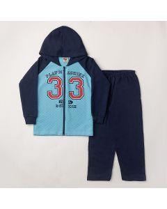 Conjunto Longo Pimentinha Jaqueta 33 Azul em Matelassê e Calça Básica Marinho em Moletom