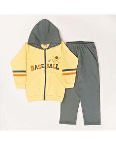 Conjunto Longo Pimentinha Jaqueta Baseball com Capuz Amarelo e Calça Básica Cinza em Moletom