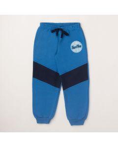 Calça Pimentinha Detalhe em Matelassê com Punho Azul em Moletom