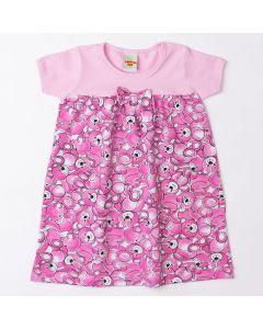 Vestido Pimentinha Ursinho em Cotton Rosa