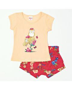 Conjunto Bebê Feminino Blusa Rosa e Short Curto Estampado