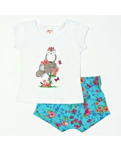 Conjunto Bebê Feminino Blusa Branca com Estampa e Shorts Azul Curto