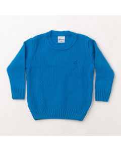 Suéter Infantil em Tricô Azul Manga Longa