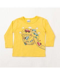 Camiseta Infantil Masculina Manga Longa Amarela