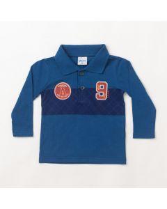 Camiseta Polo Infantil Masculina Manga Longa Azul Marinho