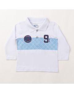Camiseta Polo Infantil Masculina Manga Longa Branca