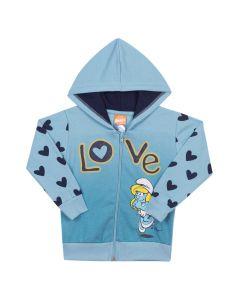 Jaqueta Infantil Love Smurfs em Moletom Azul